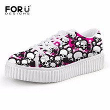 Dentelle-up Plate-Forme Homme Casual Creepers Chaussures, 3D Crâne Hommes Chaussures de Marche Femme Chaussures Plates, Zapatos Deportivos Mujer Taille 35-41