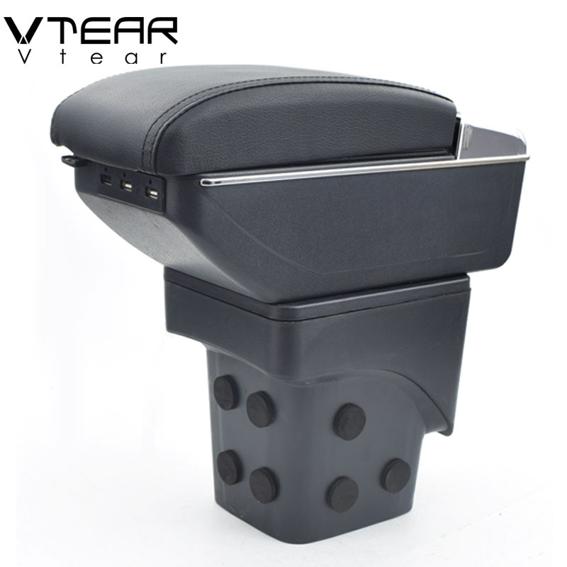 Vtear For Ford Focus 2 armrest box USB Charging interface heighten MK2 central Store content box