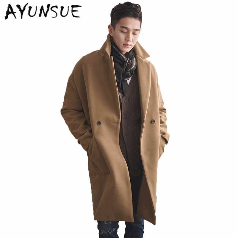 c1fa675911 Camel Mens Coat Double Breasted Mens Coats Overcoats Turn-Down Collar  Medium Long Men's Winter Jacket Trench Coat Men WUJ1171