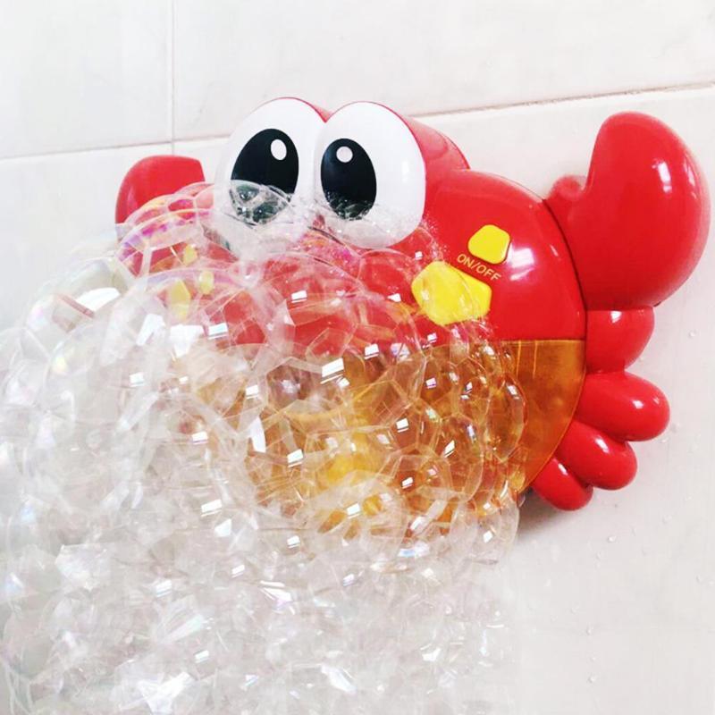 De plástico rojo cangrejo patrón máquina de burbujas música agradable burbuja de bebé niños baño ducha cuarto de baño Juguetes