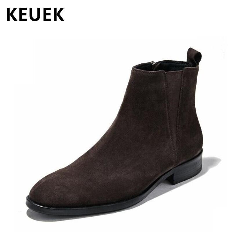 Automne hiver hommes bottes en cuir véritable bout pointu mode Chelsea bottes hommes chaussures cheville moto bottes 02C