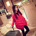 Nueva moda de las mujeres embarazadas más el tamaño de invierno de alta calidad chaqueta de maternidad de maternidad de algodón outwear abrigos de down escudo Sólido