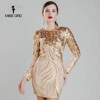 Missord 2016 Sexy O Neck Long Sleeve Tight Retro Sequin Dress FT4926