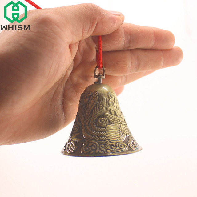 WHISM Antique Zinc Alloy Jingle Bell Small Christmas Bells Charms Feng Shui Wind Chime Pendant Vintage Metal Jewelry Accessories