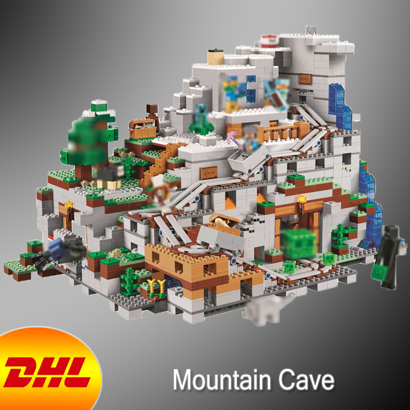 HF Minecrafted Figures 2886Pcs The Mountain Cave Model Building Kits Blocks Bricks Toys For Children Gift Compatible With 21137 10646 160pcs city figures fishing boat model building kits blocks diy bricks toys for children gift compatible 60147