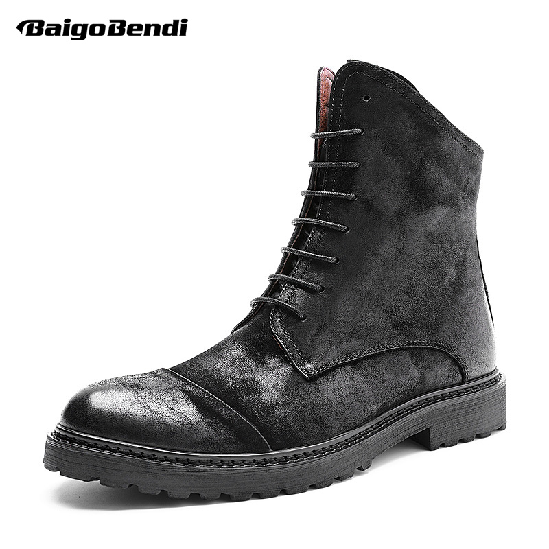 US Size Mid Calf Boots Men British Style Lace Up Chelsea Boots Business Man Oxfords Winter Wedding Shoes Man british style splicing and buckle design mid calf boots for men