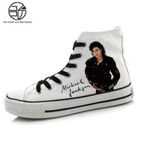 Michael Jackson Cosplay Hand Painted Casual Shoes Men Canvas Canvas Tide Shoes High Canvas Shoes High