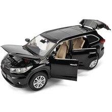 1:32 TOYOTA Highlander литья под давлением сплав модель автомобиля игрушка высокая имитация металла SUV модель 6 дверей может быть открыт подарок для детей Рождество