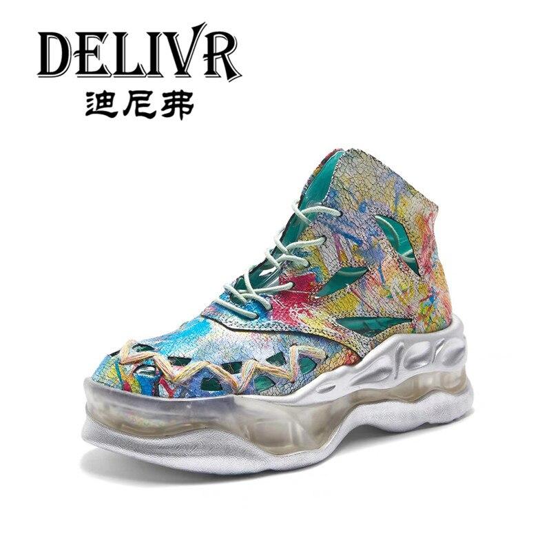 Delivr High Top Mujer Zapatos casuales 2019 primavera moda mujer Casual zapatillas Color mezclado hueco cuero genuino suela gruesa