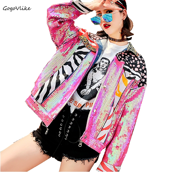 Oversized denim jacket women Pink Spring Denim Moto Jeans Jacket Color Block jaqueta jeans Leopard Patchwork Coat LT175S20