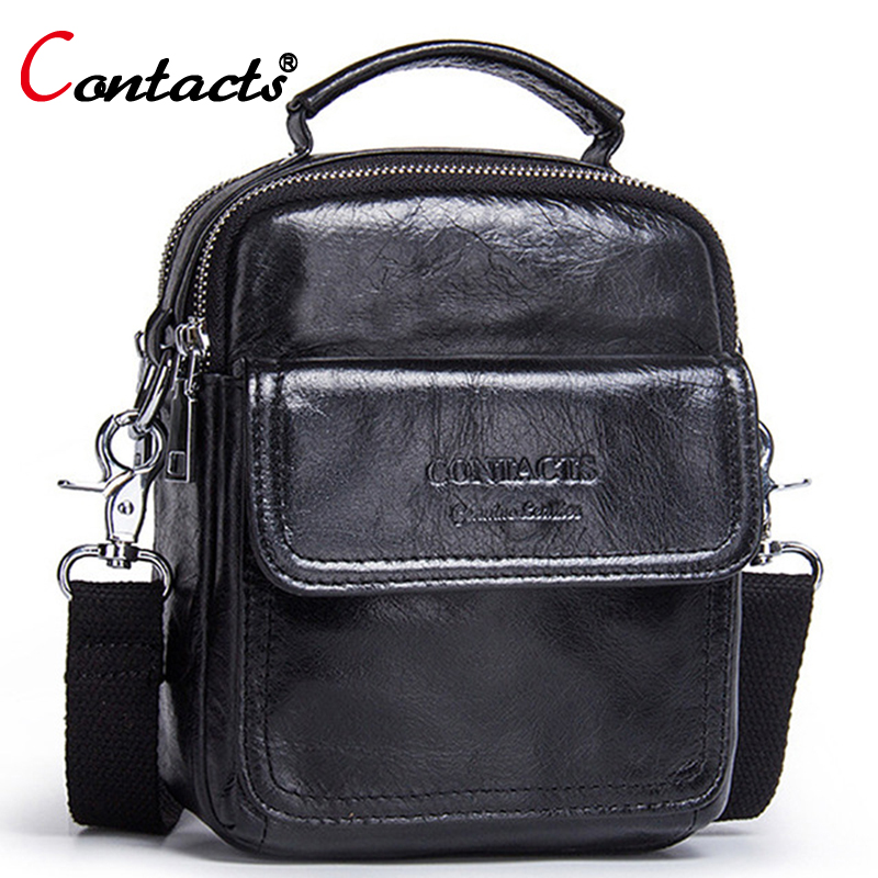 Contact's Fashion Handbag Male Business Genuine Leather Men Messenger Bags Small Crossbody Shoulder Bag Casual Travel Man Bag p kuone new men handbag casual vertical business messenger bag genuine leather male shoulder bag fashion travel clutch bags
