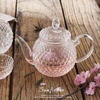 Gran oferta tetera de vidrio retro en relieve resistente al calor tetera de cristal de alta borosilicato té de la tarde con tazas de té envío gratis|tea pot|tea cup|tea tea -