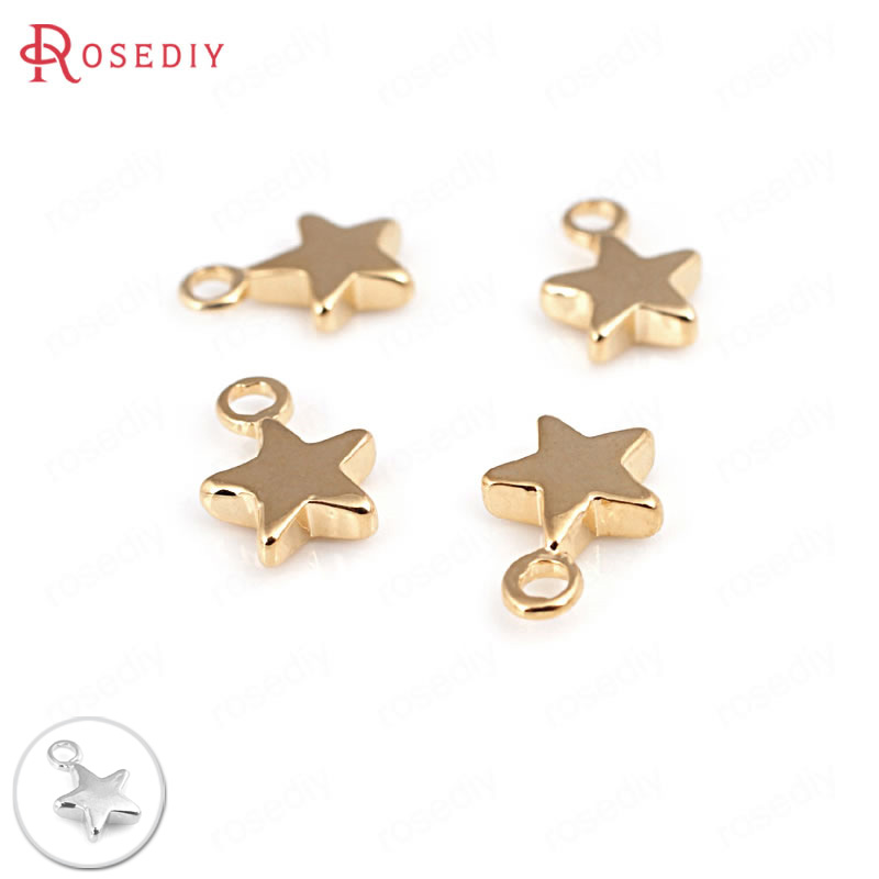 10PCS 7X10MM 24K Champagne Gold Color Plated Brass Small Star Charms High Quality Diy Jewelry Accessories