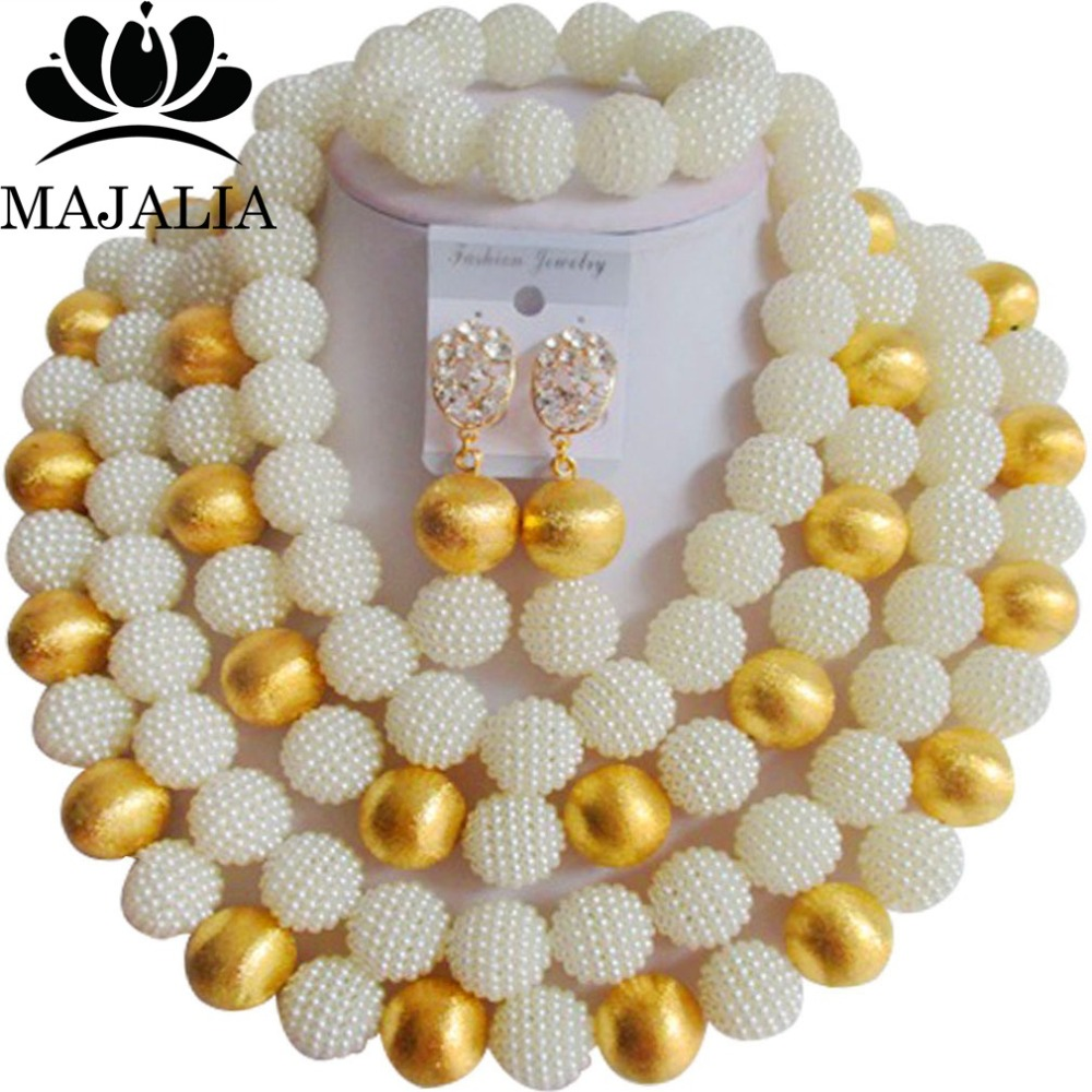 купить Fashion african jewelry beads white plastic nigerian wedding african beads jewelry set Free shipping Majalia-261 по цене 2855.22 рублей