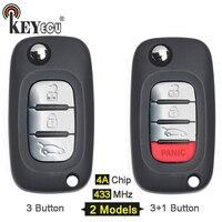 KEYECU 1x / 3x 433MHz 4A Chip OEM 3 3+1 4 Button Flip Remote Key Remote Car Key Fob for Benz Smart Fortwo 453 Forfour 2015 2017