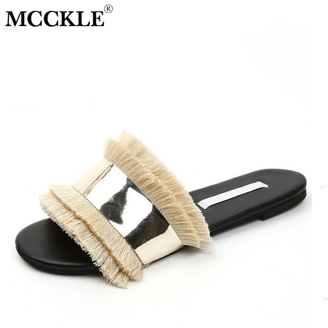 2a47686d5 MCCKLE Women Flat Slippers Edging Fringle Summer Slides Glitter Female Mules  For Ladies Beach Shoes Solid