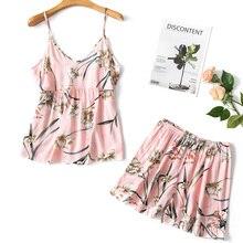 Pajimas for women flower print sleepwear sexy pajama set sum