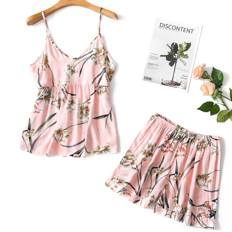 Pajimas For Women Flower Print Sleepwear Sexy Pajama Set Summer Female Nightgown Ladies V-neck Nightwear Homewear