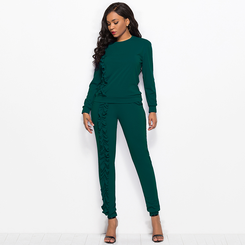 2019 Autumn New Solid Two Piece Sets Women Long Sleeve Round Neck Tops Trousers Ruffles Tracksuit Set 2 Piece Sets Ladies Suits 46