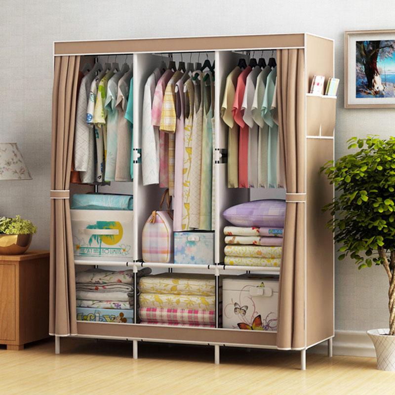 1c636c6cca71 Simple Cloth Wardrobe Fabric Steel Tube Assembly Closet Bedroom ...