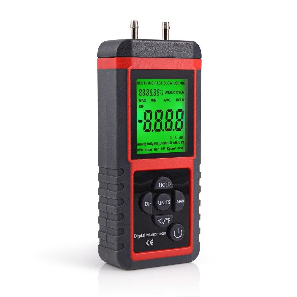 ЖК-дисплей измерение давления цифровой инструмент 12 единиц Манометр Датчик давления воздуха Датчик давления газа измеритель давления