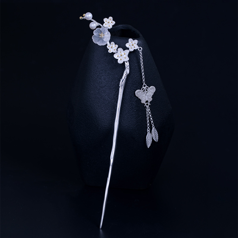 925 Sterling Silver Butterfly Tassel Chinese Style Hairpin Plum Blossom Flower Hair Stick Pin Fashion Metal