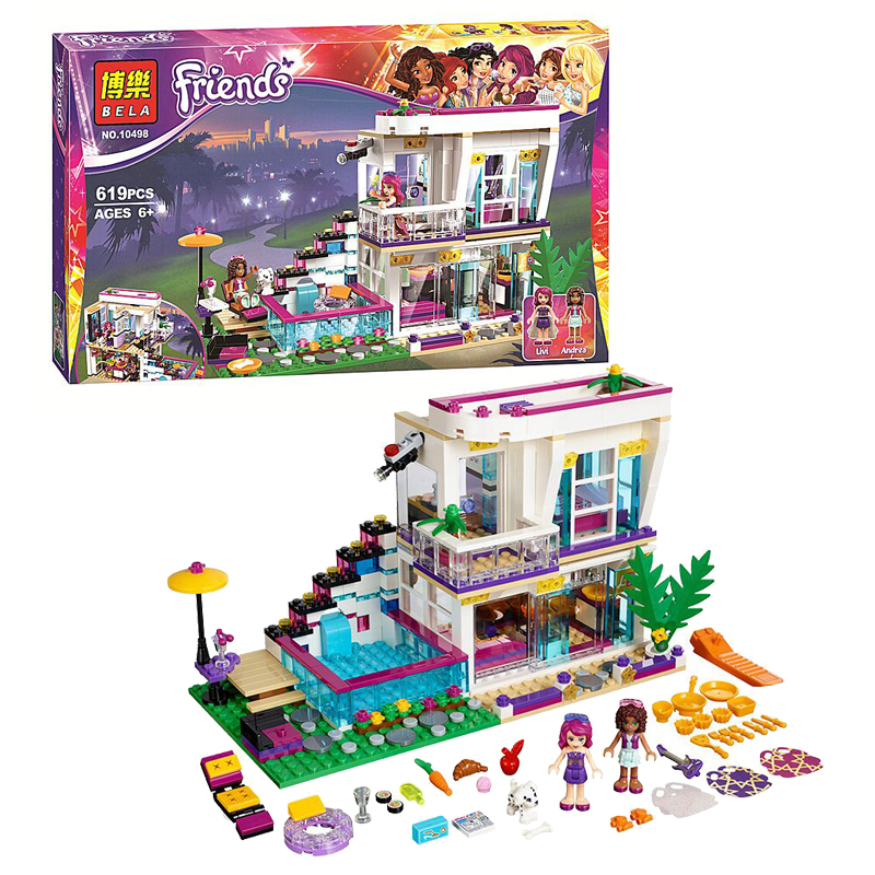 Bela 10498 Girl Friends Livi's Pop Star House 41135 Building Kit Set Blocks 619PCS Minifigures Education Toys For Children