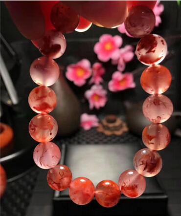 Natural South Red AgateRound Beads Bracelet AAAA 10.5mm