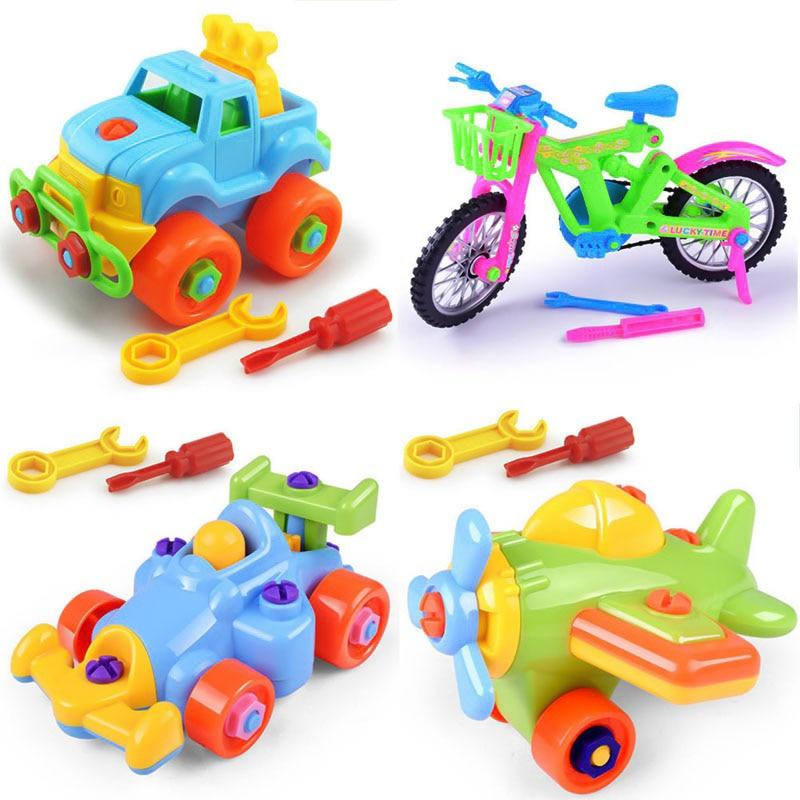 1 Pcs Kleur Willekeurige Vroeg Leren Onderwijs Diy Schroef Geïnstalleerd Plastic 3d Puzzel Demontage Motorfiets Speelgoed Voor Kinderen Jigsaw Ongelijke Prestaties