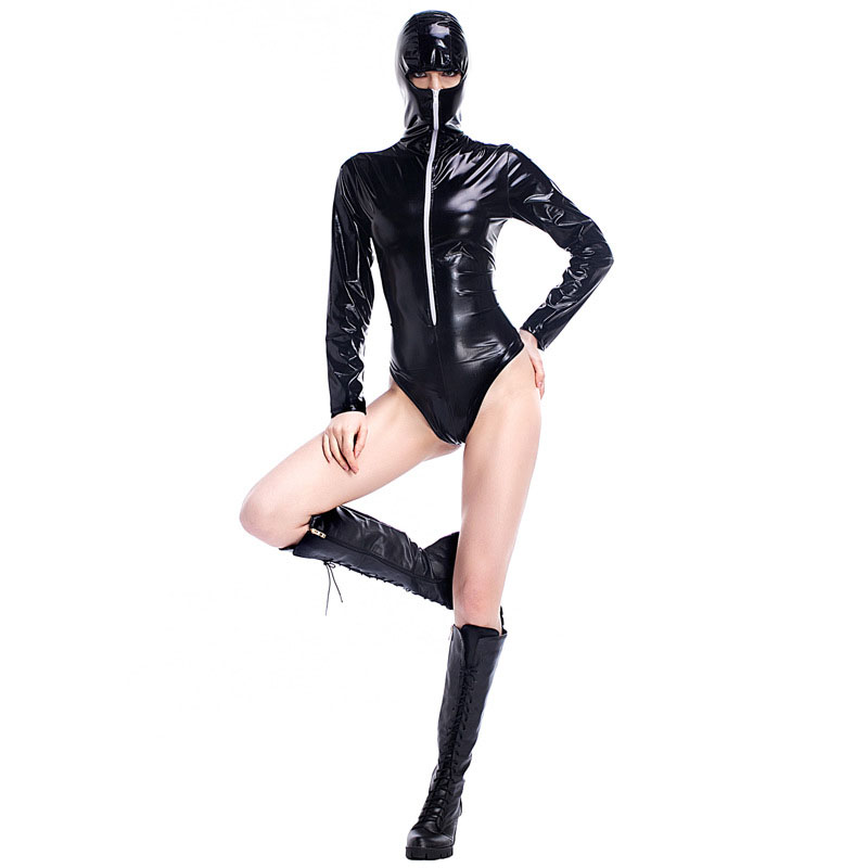 Sexy Women Latex Catsuit Zipper Front Headgear Shiny Tights Fetish Long Sleeve High Quality Skinny Bodysuit Zentai 2017 W880854