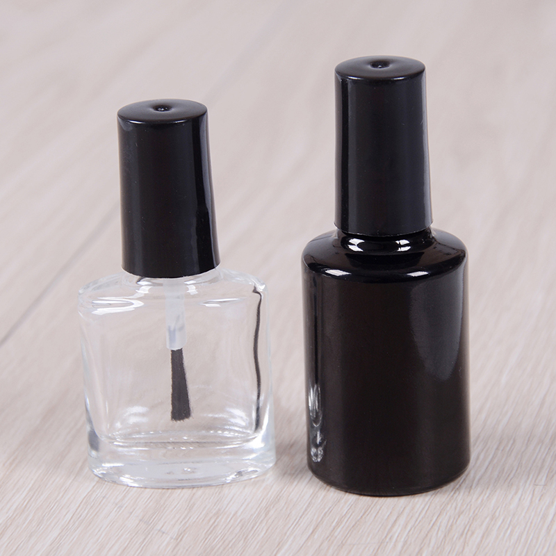 10ML 15ML Empty Nail Polish Bottle Cosmetic Containers Nail Glass Bottles With Brush Black Transparent Glass With A Lid Brush