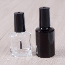 10ML 15ML boş oje şişesi kozmetik kapları tırnak cam şişeler fırça ile siyah şeffaf cam kapaklı fırça