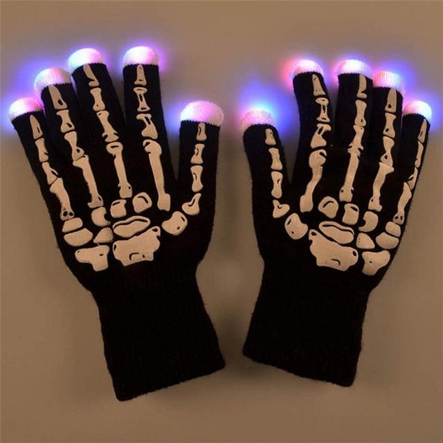 2 unids/lote LED Guantes Esqueleto Hueso Del Dedo Del Partido KTV Luz Del Resplandor Luminoso Dedo Guantes Mitones de Halloween Que Cambia de Color