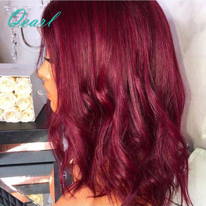 Image 3 - 99j Burgundy Wavy Short Bob Lace Front Human Hair Wigs With Baby Hair Pre Plucked Middle Part Brazilian Remy Hair Wig Qearl Hair