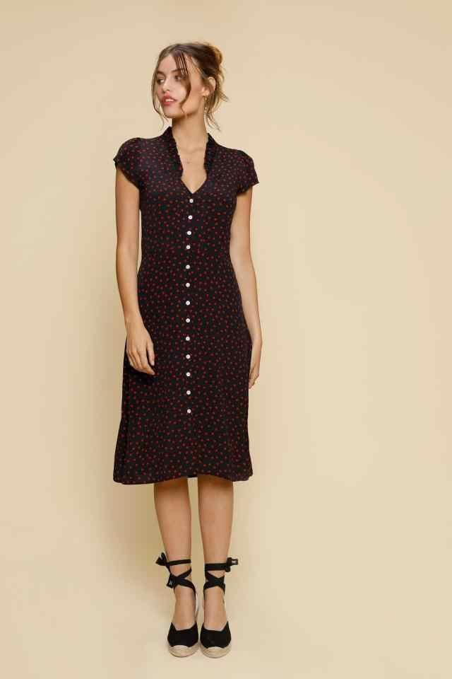 91b955870ddae Women LENA Robe Mi-longue Polka Dot Print Closure Front Buttons Short  Sleeve Viscose Ruffle Yoke V Neck Midi Dress