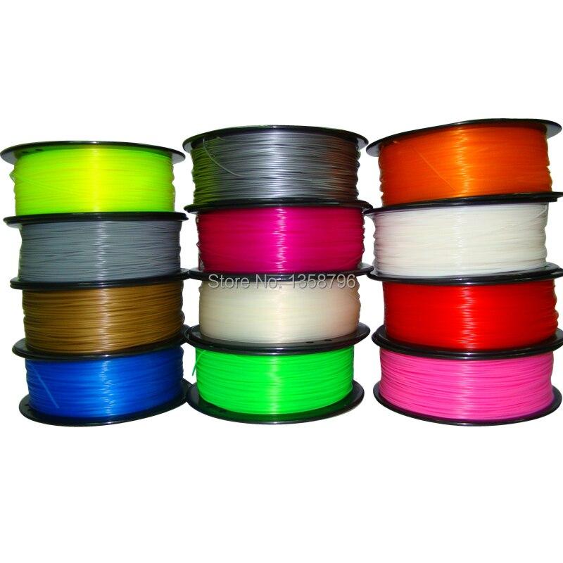 Makerbot/reprap/Up/mendel 27 colores opcionales 3D filamento impresora PLA/ABS 1.75mm/3 MM 1 kg caucho plástico consumibles material