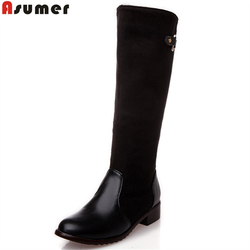 Asumer 2018 New size 34-47 knee high boots women fashion long boot winter footwear wedding shoes sexy winter motorcycle boots asumer 3 colors new big size 34 43 women boots winter fashion lace up knee high boots sexy woman shoes snow motorcycle boots
