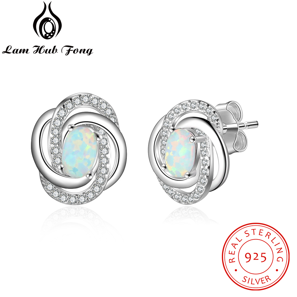 925 Sterling Silber Opal Ohrringe Mit Zirkonia Twist Knoten Stud Ohrringe Für Frauen Silber 925 Schmuck Geschenk (lam Hub Fong)