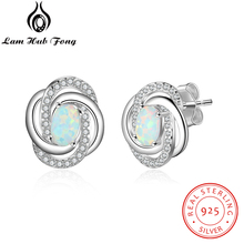 925 Sterling Silver Opal Earrings with Cubic Zirconia Twist Knot Stud Earrings for Women Silver 925 Jewelry Gift  (Lam Hub Fong) modian genuine silver earrings for women 925 sterling silver stud earrings silver 925 with colorful fantastic jewelry