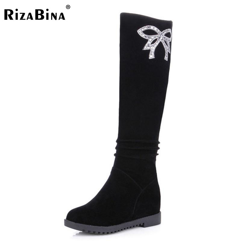 RizaBina Size 34-40 Winter Shoes Women Height Increasing Knee High Winter Boots For Women Glitter Warm Fur Inside Wedges Botas thigh high over the knee snow boots womens winter warm fur shoes women solid color casual waterproof non slip plush wedges botas