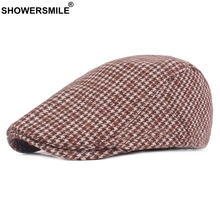 e59dcbad821dc SHOWERSMILE Beret Men Hat Orange Flat Caps Houndstooth Tweed Duckbill Ivy  Cap Women Vintage British Tartan