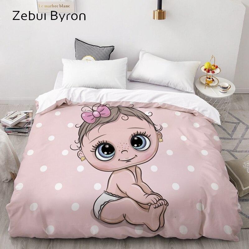 3D HD Custom Duvet Cover,Comforter/Quilt/Blanket Case Queen/King,Cartoon Cute Baby Pink Bedding For Baby/Kids/Child/Boy/Girl