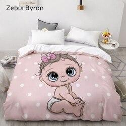 3d hd personalizado capa de edredão, consolador/colcha/cobertor caso rainha/rei, desenhos animados bonito bebê rosa cama para bebê/crianças/criança/menino/menina