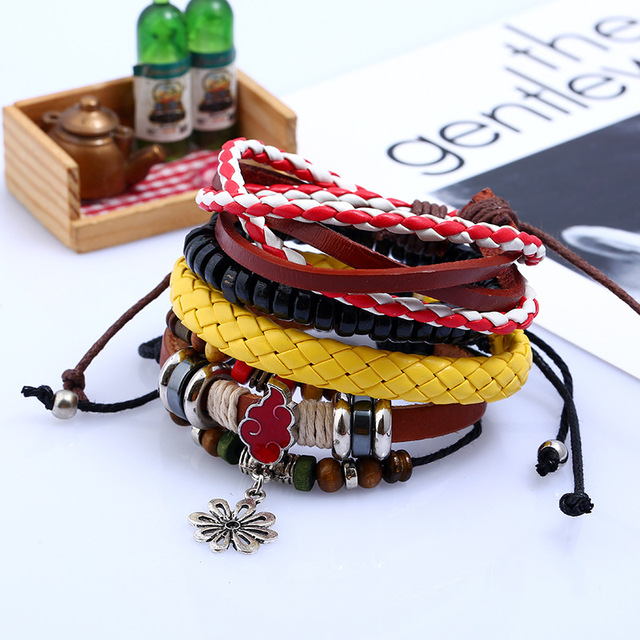 Naruto Handmade Set Bracelet Leather Braid