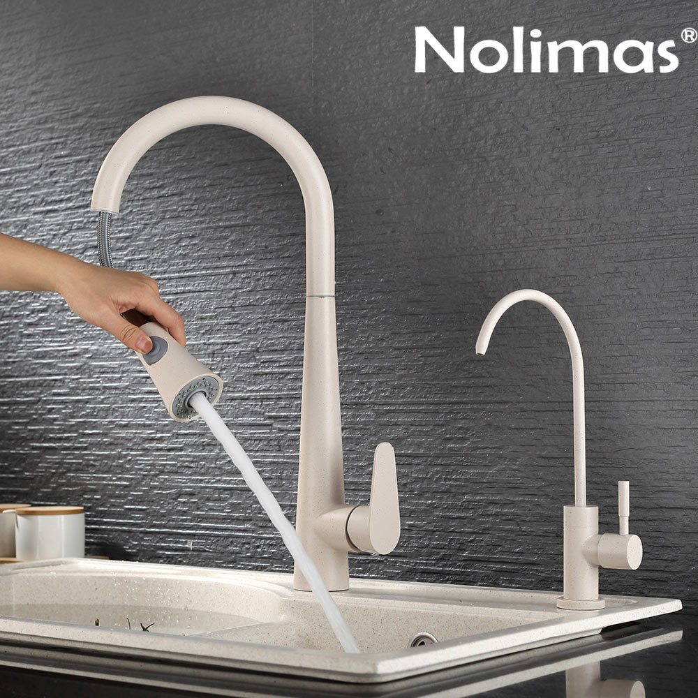 Kitchen Faucet SUS 304 stainless steel Pull Out Faucets Beige Paint Spool Mixer Water Tap With Hot And Cold Double Control kitchen tap sus 304 stainless steel faucets beige paint spool mixer water faucet hot and cold double control ceramic plate spool