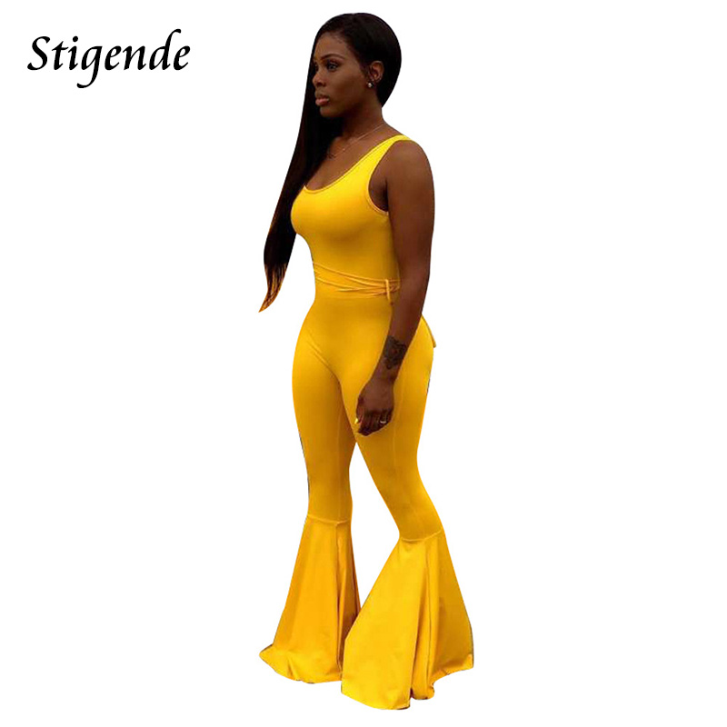 Stigende Backless Spaghetti Strap Flare Leg Jumpsuit Women Sexy Sleeveless Bandage Jumpsuit Summer Solid Skinny Party Jumpsuit