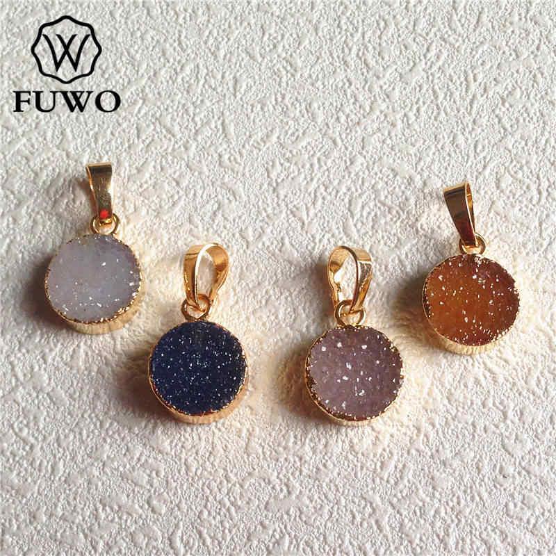 Fuwoナチュラルdruzy瑪瑙ラウンドペンダント24 kゴールド電気めっき生クリスタル宝石石のファッションジュエリー卸売pd039