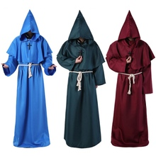 Monk Hooded Robes Cloak Cape Friar Medieval Renaissance Priest Men Robe Clothes Halloween Comic Con
