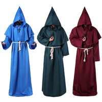 Traje Con capucha de monje capa de fraile Medieval cura renacentista para hombre traje de Halloween Comic Con disfraz de Cosplay