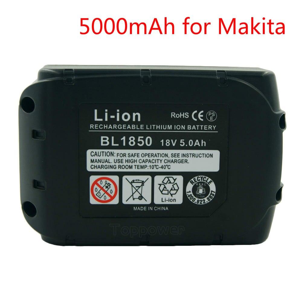 New 18V 5000mAh Replacement Batteries for Makita BL1850 LXT400 BL1840 194230-4 BL1830 Li-ion Power Tools 3a li ion battery charger replacement for makita power tool electric screwdriver dc18r 18ra bl1830 1815 1840 1850 14 4v 18v